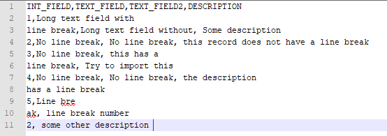 Import file with line breaks - SQL database