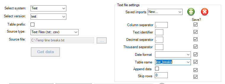 Import settings - import linebreaked file