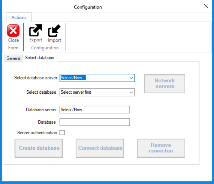 Configuration - Select database
